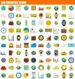 100 business icon set, flat style. 100 business icon set. Flat set of 100 business vector icons for web design Royalty Free Illustration