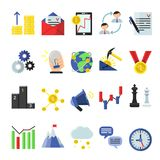 Business icon set in flat style. Vector business symbol and icon, money and idea, target and reward illustration Stock Photos
