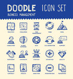 Business icon set. Handmade ink pen line icons set of modern business elements, solution for companies. Creative outline symbol collection. Simple doodle linear vector illustration