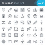 Business icon set. A set of line art style icons with business, office and communications icons Stock Photos