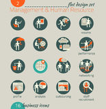 Business icon set. Management, human resources, marketing stock illustration
