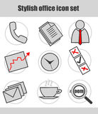Business icon set. Office business icon set isolated on white Royalty Free Stock Photos
