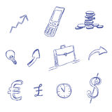 Business, icon, set, sketch, hand drawing, vector, illustration. Vector illustration of business icons in sketch style Royalty Free Stock Photos