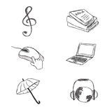 Business, icon, set, sketch, hand drawing, vector, illustration Royalty Free Stock Photos