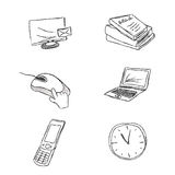 Business, icon, set, sketch, hand drawing, vector, illustration Stock Photography