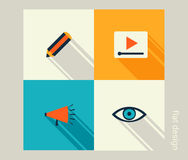 Business icon set. Software and web development, marketing stock illustration