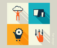 Business icon set. Software and web development, marketing Stock Photos