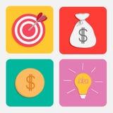 Business icon set. Target moneybag gold coin light bulb idea concept. Flat design. Royalty Free Stock Photos