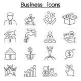 Business icon set in thin line style. Vector illustration graphic design Royalty Free Stock Photo