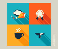Business icon set. Vacation, holiday, recreation. Flat design Royalty Free Stock Image