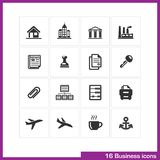 Business icon set. Vector black pictograms for web, computer and mobile apps, presentations, interface design. office building, bank, finance industry Royalty Free Illustration