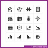 Business icon set. Vector black pictograms for web, promotional materials, mobile apps, promotion presentation. target, puzzle, clipboard, archive, idea bulb Stock Photos