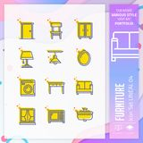 Business icon set vector with line on simple concept. Furniture icon for website element, app, UI, infographic, print template and vector illustration