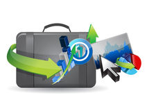 Business icon sets and suitcase illustration Royalty Free Stock Photo