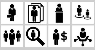 Business icons 01. Black and white business  icons Stock Photography