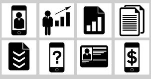 Business icons 02. Black and white business icons Stock Image