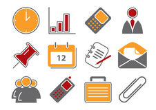 Business Icons. Vector illustration of 12 different business icons, red and orange color scheme royalty free illustration