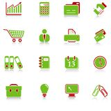 Business icons. With reflection, green-red series Royalty Free Stock Photos