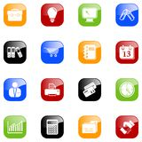 Business icons. Set of 16 business icons. Additional format includes each icon in five color variations Royalty Free Stock Photos