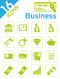 Business icons. 16 icons in business Stock Image
