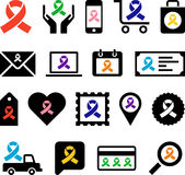 Business icons with awareness ribbons Royalty Free Stock Photo