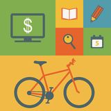 Business icons and bicycle Royalty Free Stock Images