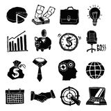 Business Icons Black And White Set. With piggy bank graphs notebook isolated vector illustration Stock Image