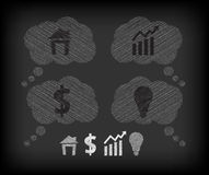 Business icons on the blackboard Stock Photography