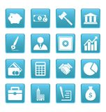 Business icons on blue squares Royalty Free Stock Photography