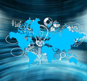 Business icons and blue world map Stock Photography