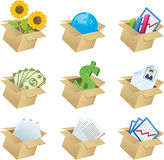 Business icons in boxes - 1 Stock Images