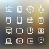 Business icons clip-art on color background Stock Photos