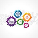 Business icons in cog wheel. Illustration of business icons in cog wheel Royalty Free Stock Photography