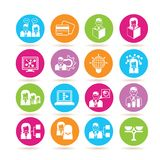 Business icons. Collection of 16 business icons in colorful buttons Royalty Free Stock Photos