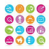 Business icons. Collection of 16 business icons in colorful buttons stock illustration