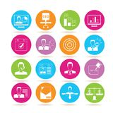 Business icons. Collection of 16 business icons in colorful buttons royalty free illustration
