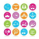 Business icons. Collection of 16 business icons in colorful buttons Royalty Free Stock Image