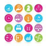 Business icons. Collection of 16 business icons in colorful buttons vector illustration