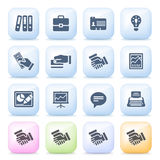 Business icons on color buttons. Royalty Free Stock Images