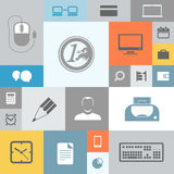 Business icons on color tiles Royalty Free Stock Photos