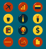 Business icons. Colorful business office flat style icons set Stock Image
