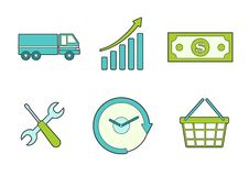 Business icons for commercial shipping Stock Image