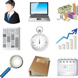 Business icons detailed  set. Business and finance icons detailed  set Royalty Free Stock Photography