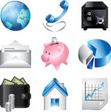 Business icons detailed  set. Business and finance icons detailed  set Stock Photo