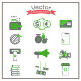 Business  icons flat corruption record set exchange transfer gray Gr Royalty Free Stock Images