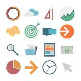 Business icons, flat design,  illustration.  Royalty Free Stock Photo