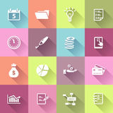 Business Icons in Flat Design Style Stock Photography