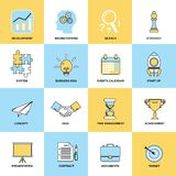 Business icons flat line set Stock Photos