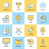 Business icons flat line set Stock Photography