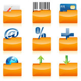 Business icons in folder Royalty Free Stock Photo